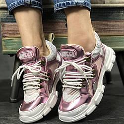 Женские кроссовки Gucci Flashtrek Pink/White (Гуччи) розовые