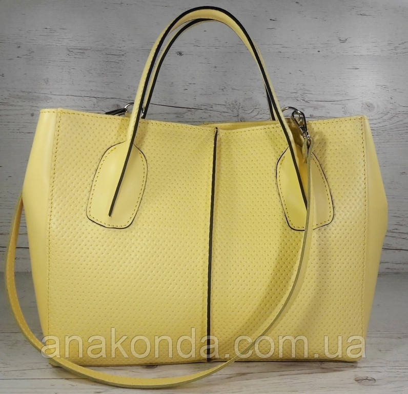 59-6 Натуральная кожа, Сумка женская желтая лимонная А4 А-4 Женская сумка кожаная желтая