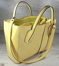 59-6 Натуральная кожа, Сумка женская желтая лимонная А4 А-4 Женская сумка кожаная желтая, фото 2
