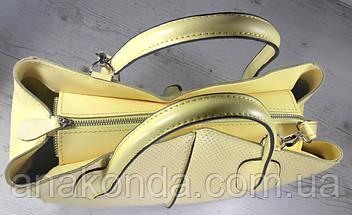 59-6 Натуральная кожа, Сумка женская желтая лимонная А4 А-4 Женская сумка кожаная желтая, фото 3