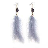 Крупные пушистые Серьги из перьев, фото 1
