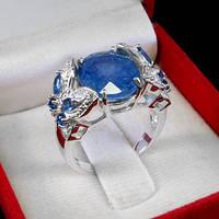 Кольцо серебро 925 пробы сапфир 7,80 карат