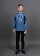 Рубашка вышиванка для мальчика Младший Капрал (синий джинс) 116-152