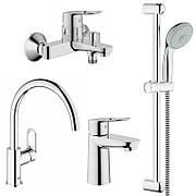 Grohe BauLoop 123225K набор смесителей для кухни и ванной S-Size 23337000+32815000+27598001+31368000