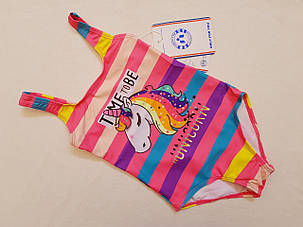 Купальник детский 8970 Лошадка -единорог персиковый  (есть 28 30 32 34 36 размеры), фото 2