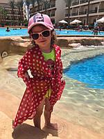 Детская Летняя пляжная туника красная в горох