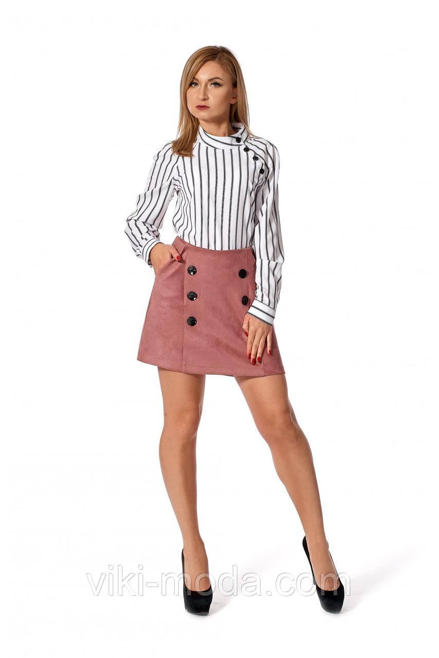 Женская юбка мини с карманами, цвет пыльная роза