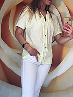 Блузка жіноча літо з коротким рукавом (42/46 універсал) (колір лимонний) СП