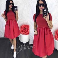 Платье женское лето 2 кармана (42/46 универсал) (цвет красный) СП