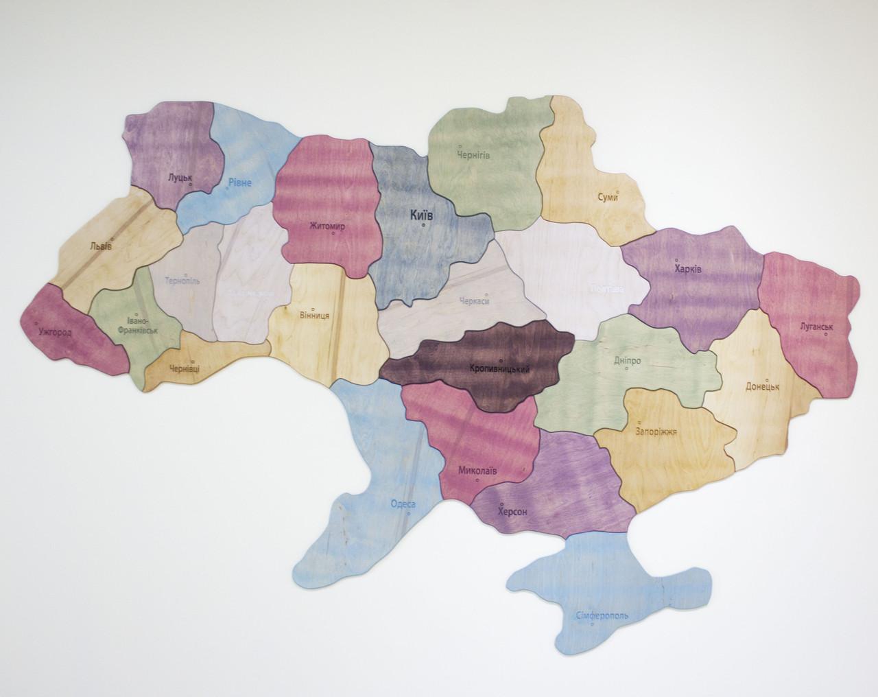 Карта Украины пазл тонированная с фанеры