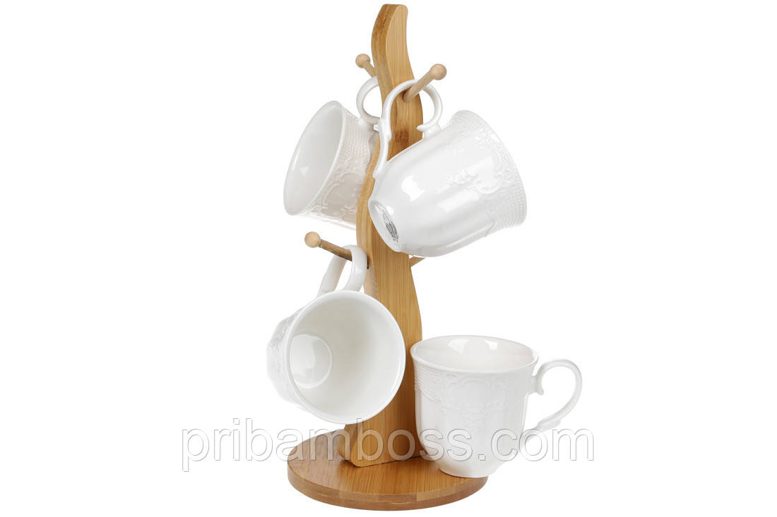 Набор (4шт) фарфоровых чашек 175мл на бамбуковой подставке Naturel, 29см