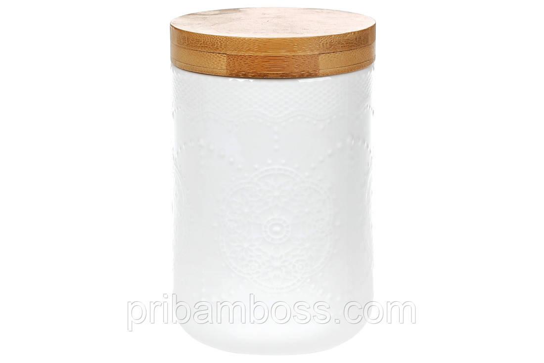 Банка фарфоровая для сыпучих продуктов с бамбуковой крышкой Naturel, 500мл