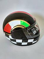 Шлем мотоциклетный, черный глянцевый F2, размер S(55-56)