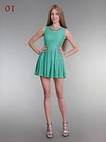 Летнее гипюровое короткое платье зеленное , фото 1