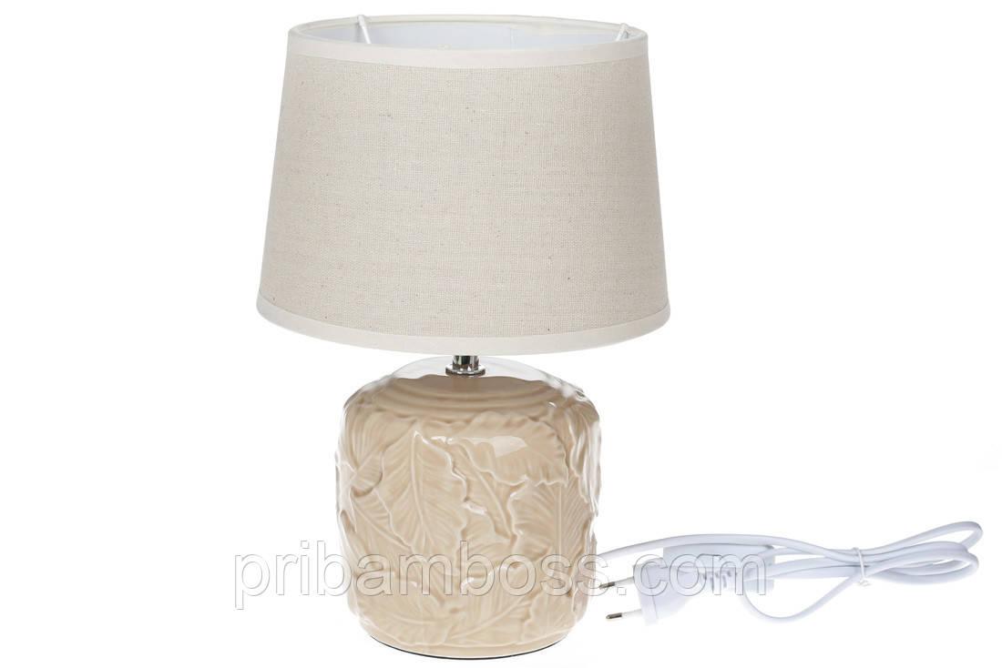 Лампа настольная с керамическим основанием  29,5 см, цвет - беж