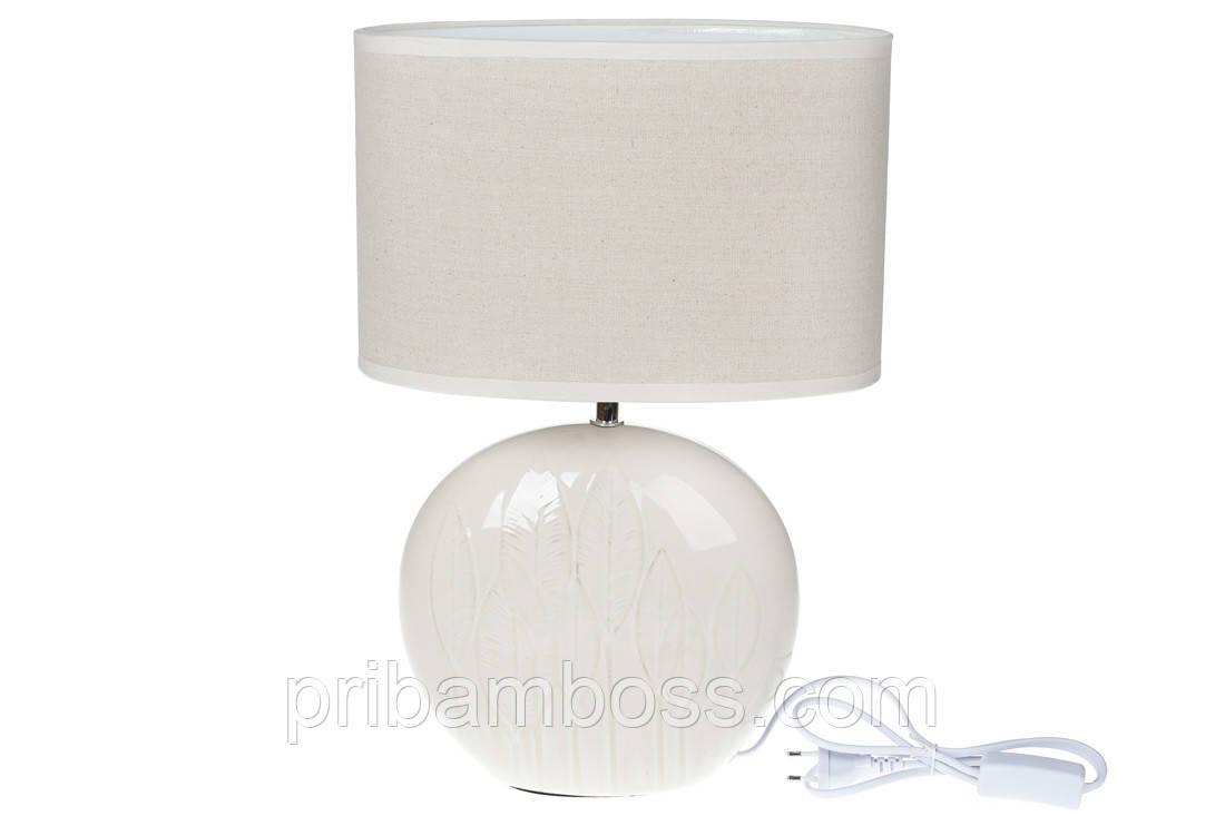 Лампа настольная с керамическим основанием и овальным, 44,5 см, цвет - белый с патиной