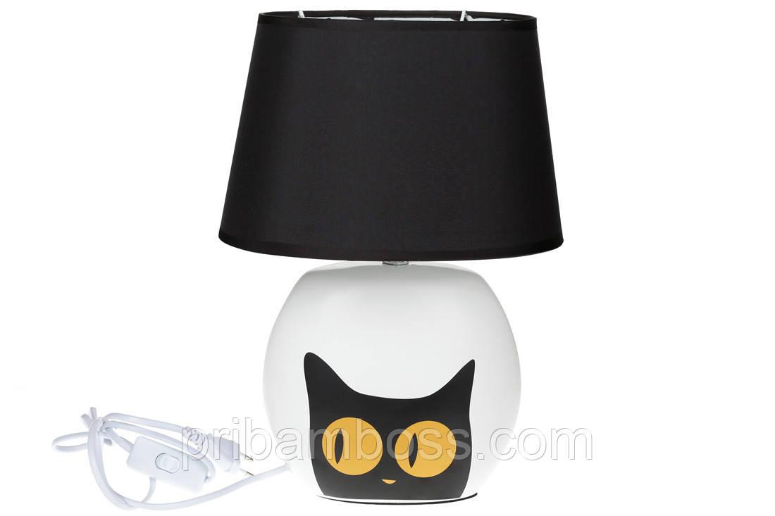 Лампа настольная с керамическим основанием Черный Кот, 35,5 см