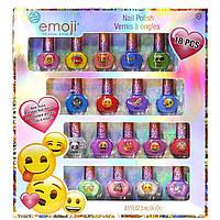 Детская косметика лак для ногтей Эмоджи Смайлы 18 штук Emoji Kids Washable Super Sparkly