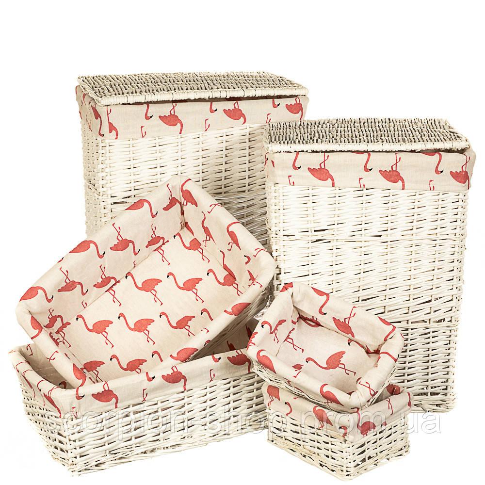 """Набор корзин для белья """"Фламинго"""" 6 шт. (060PV)"""