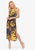 Летнее длинное платье на нитке резинке с разрезами по бокам 90382/1
