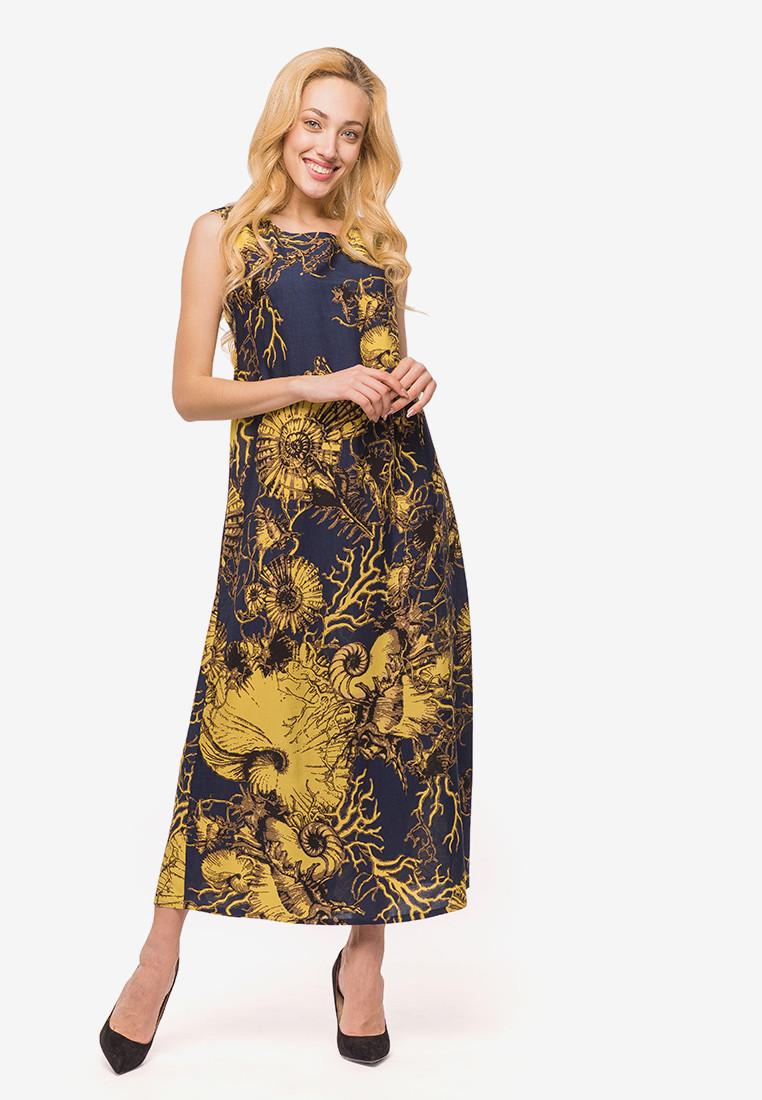 Летнее длинное платье в пол фасона А-силуэта с штапеля 90366, фото 1