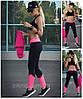 """Спортивные лосины, леггинсы для фитнеса и спорта модель """"Легкость"""" цвет черный с розовым"""