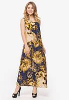 Літній довге плаття в підлогу фасону А-силуету з штапелю 90366/1, фото 1