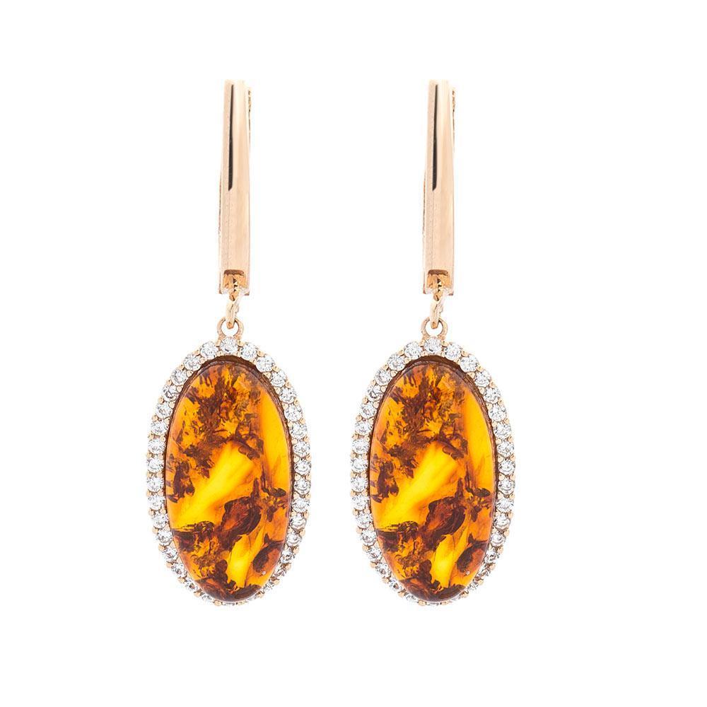 Золотые серьги (янтарь, фианит) гс05380