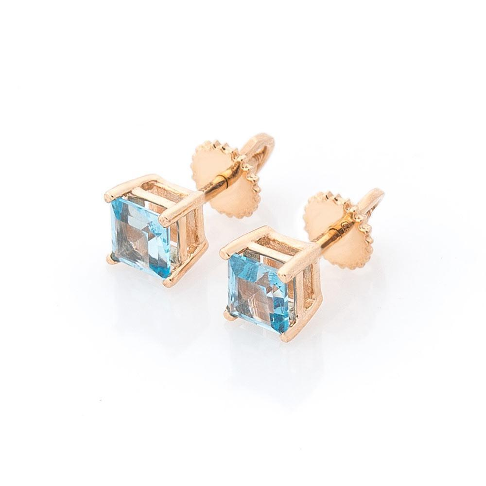 Золотые серьги-пусеты (топаз) гс896