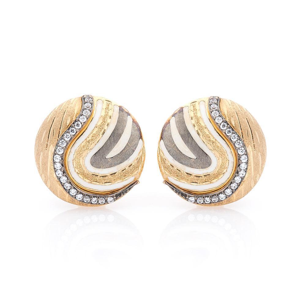Золотые серьги с фианитами и эмалью гс02888