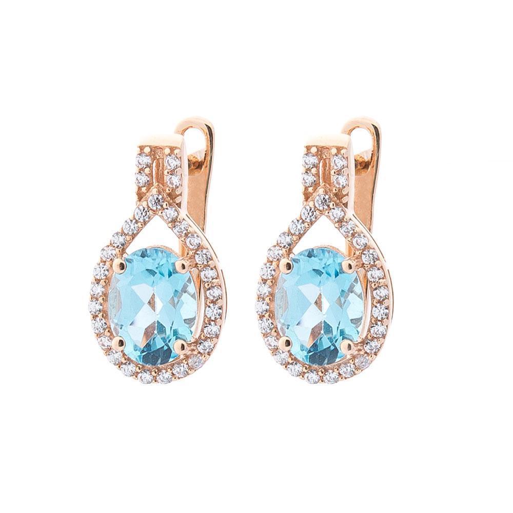 Золоті сережки з блакитним топазом і фіанітами гс04195