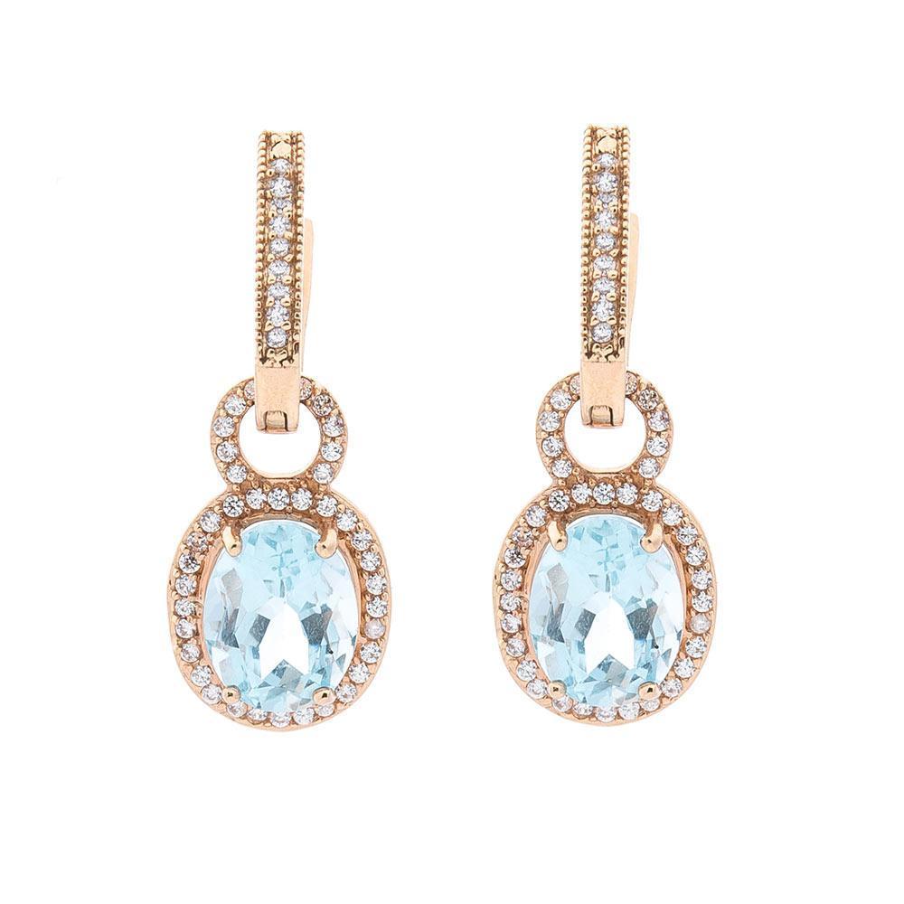 Золоті сережки з блакитним топазом і фіанітами гс01371