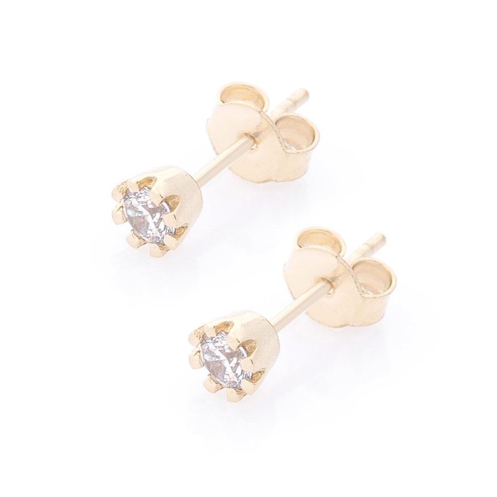 Золотые серьги-гвоздики с фианитами гс05845