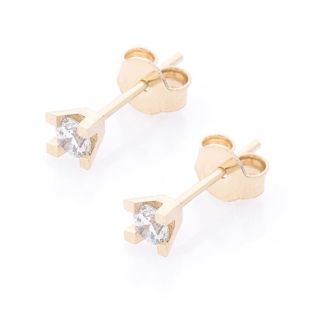 Золотые серьги-пусеты с фианитами гс06151