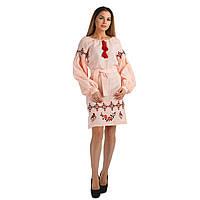 Персиковое вышитое платье для женщины