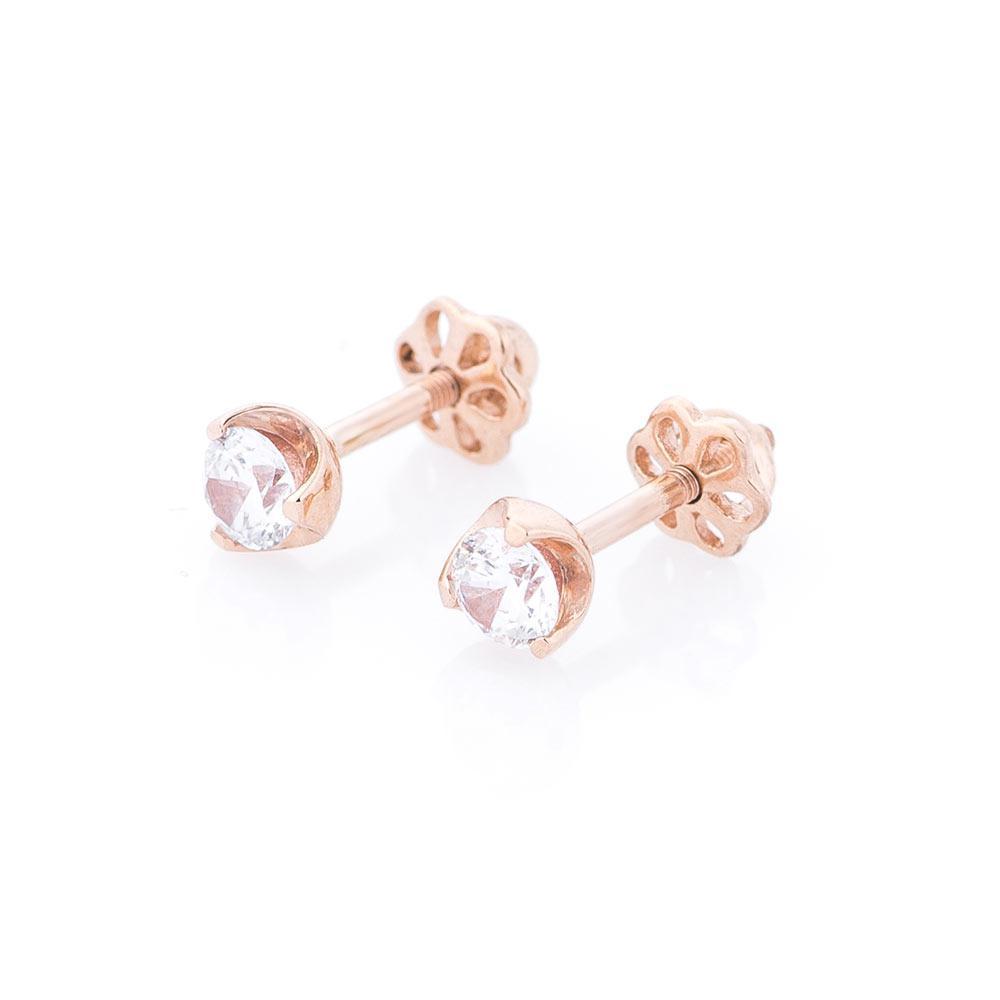 Золоті сережки-цвяшки з фіанітами гс04943