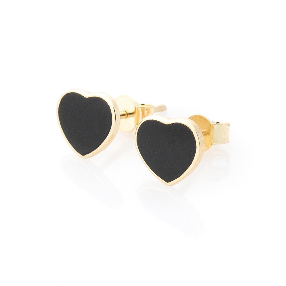 """Золоті сережки-пусети """"Серця"""" (онікс) гс05589"""