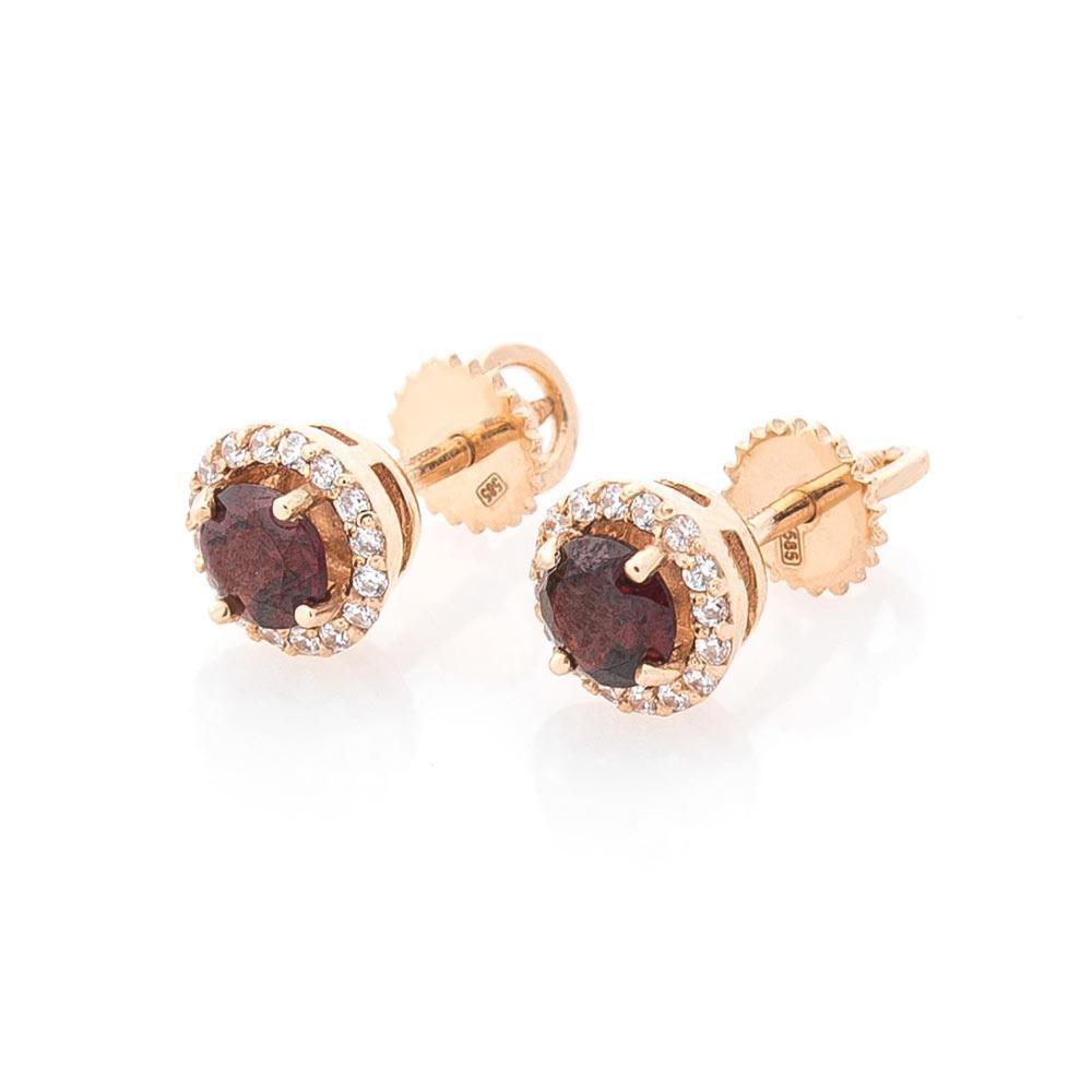 Золоті сережки-пусети (піроп, фіаніти) гс489п