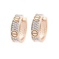 Золотые серьги-кольца с фианитами гс05398