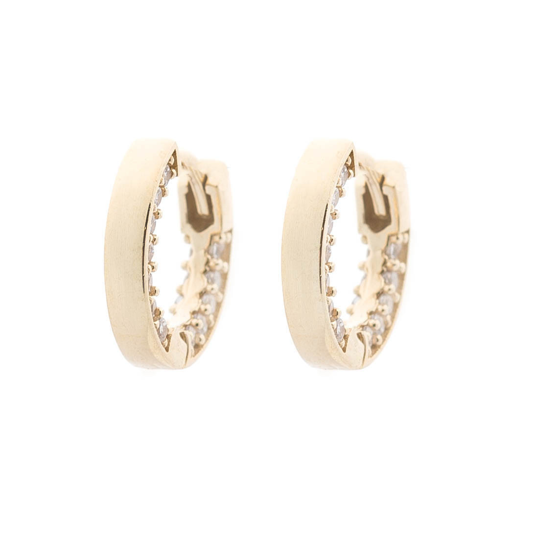 Золотые серьги-кольца (фианиты) гс05481