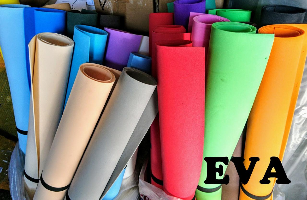 Цветные листы EVA 3075 (вспененный этиленвинилацетат, ЭВА, фоамиран, фоам) цветной, листовой 2мм.