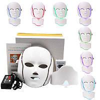 Фотодинамічна (LED) маска з мікрострумами для особи і накладкою для шиї, 7 кольорів