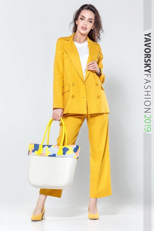 Женский костюм из льна 42-52 цвета разные желтый