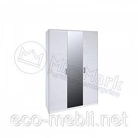 Розпашна шафа 3Д з дзеркалом у спальню Рома Білий Глянець Міромарк