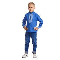 Синяя вышитая рубашка вышиванка для мальчика