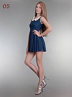 Летнее гипюровое короткое платье синее, фото 1