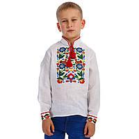 Белая вышитая рубашка вышиванка для мальчика, украшенная разноцветными цветами