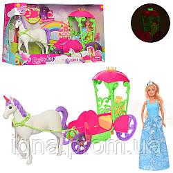 Карета DEFA 8423 (6шт) с лошадью, 52см, кукла 30см, муз, свет, бат(таб), в кор-ке, 53,5-32-15см
