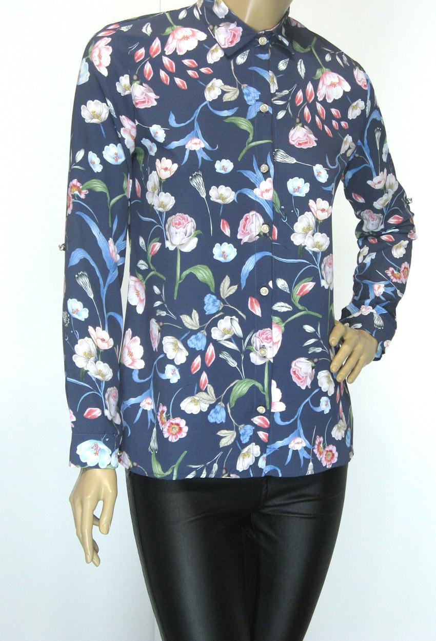 Жіноча літня блузa сорочка з атлас шифону Flexi Туреччина