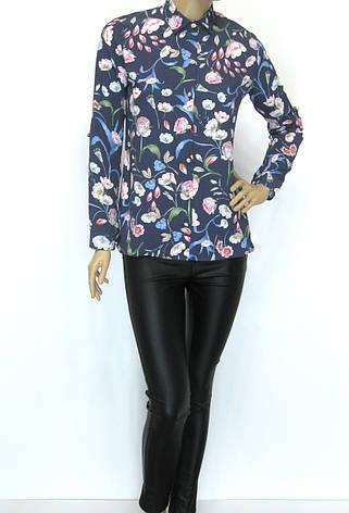 Жіноча літня блузa сорочка з атлас шифону Flexi Туреччина, фото 2